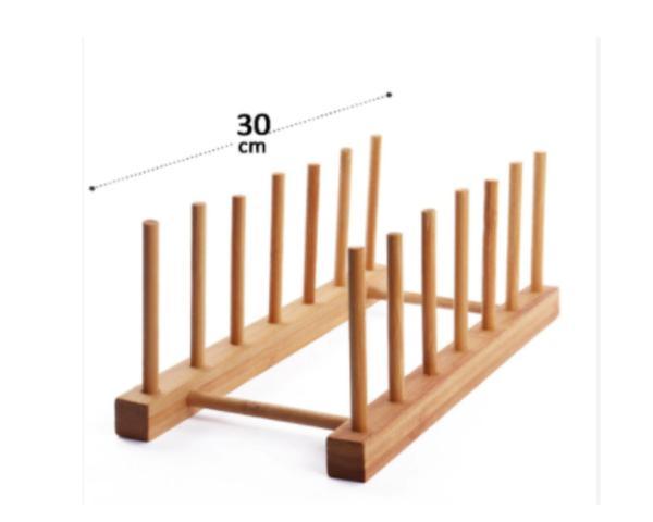 Imagem de Escorredor de pratos suporte organizador de louça em bambu