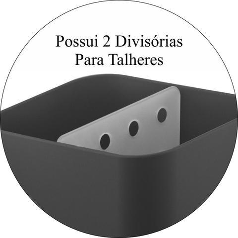 Imagem de Escorredor Porta Talheres de Bancada Pia Cozinha - Preto