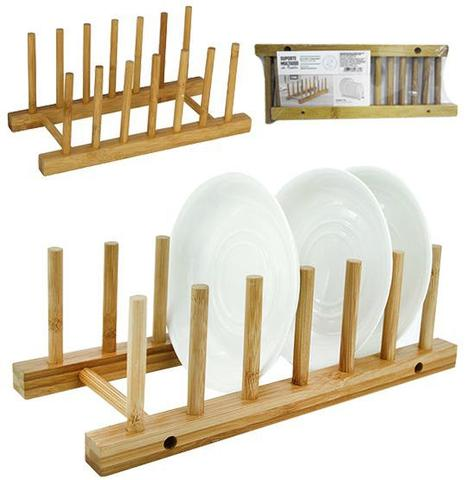 Imagem de Escorredor Suporte 6 Pratos e Copos de Bambu Cozinha