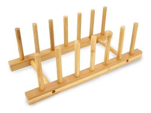 Imagem de Escorredor Suporte Display Porta 6 Pratos Bambu