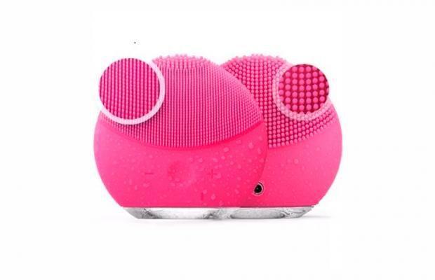 Imagem de Escova De Limpeza Facial Massageador Recarregável Rosa