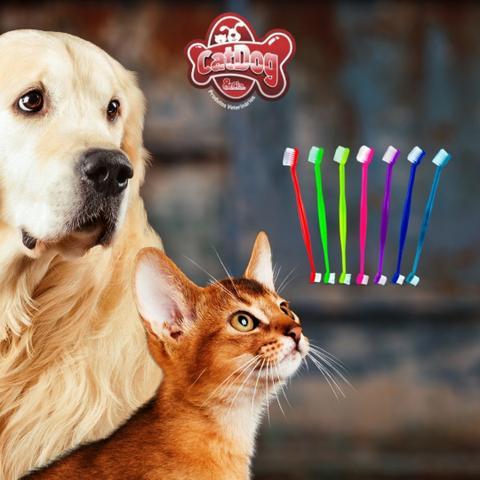 Imagem de Escova dental cães e gatos cat dog cerda dupla avulsa