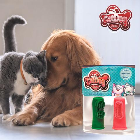 Imagem de Escova dental cao gato catdog 2 dedeiras solapa