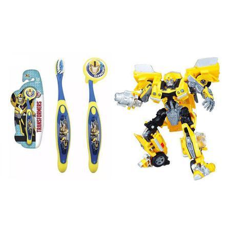 Imagem de Escova Dental Infantil Cerdas Macias Com Capa Protetora Transformers - Bumblebee