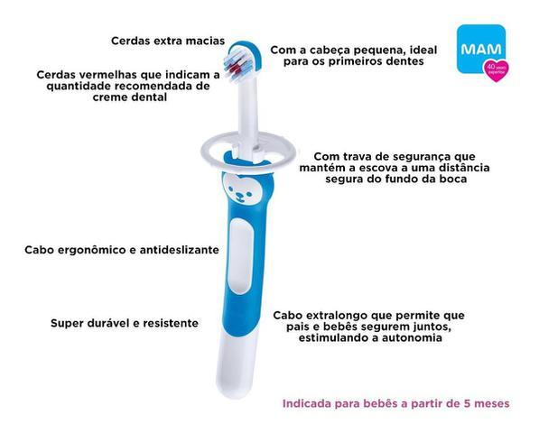 Imagem de Escova Dente Bebê Training Brush MAM C/ Trava Proteção (5+M) Azul