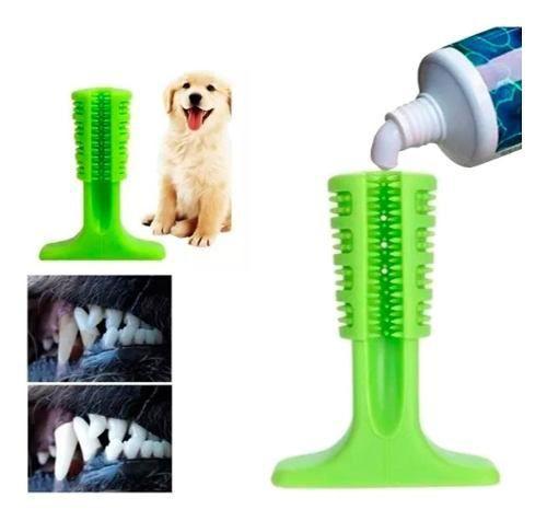 Imagem de Escova Dentes Canino Cao Mordedor Pet Limpeza + Pasta Dente