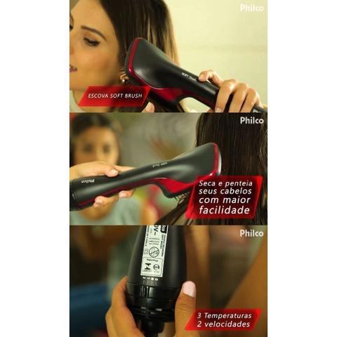 Imagem de Escova soft brush  secadora alisadora modeladora philco premium 1200w  de potencia 110v