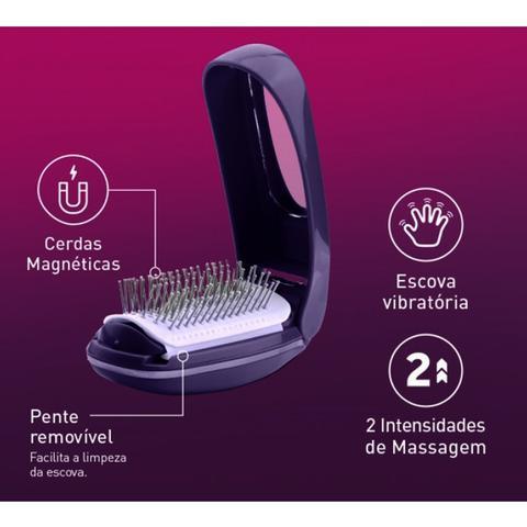 Imagem de Escova Vibratória Therapy Hair Ana Hickmann Roxo - RelaxBeauty RB-HM1178