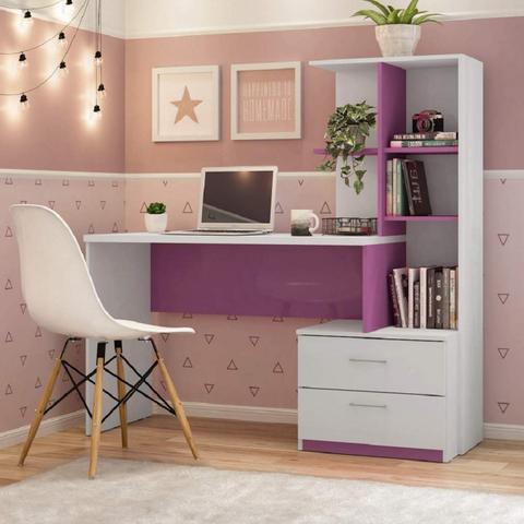 Imagem de Escrivaninha com Estante 2 Gavetas Poli Espresso Móveis Branco/Rosa