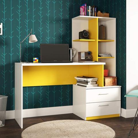 Imagem de Escrivaninha com Estante 2 Gavetas Poli Siena Móveis Branco/Amarelo