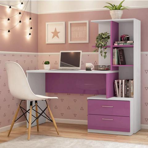 Imagem de Escrivaninha com Estante 2 Gavetas Poli Siena Móveis