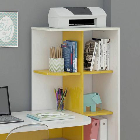 Imagem de Escrivaninha com Estante Elisa Permobili Branco/Amarelo