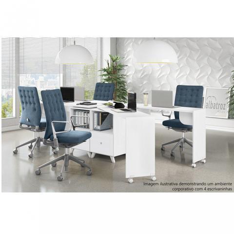Imagem de Escrivaninha com Tampo Giratório 1 Gaveta Carinho Albatroz Móveis Branco Textura