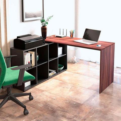 Imagem de Escrivaninha em L com 8 nichos Nero - Artany