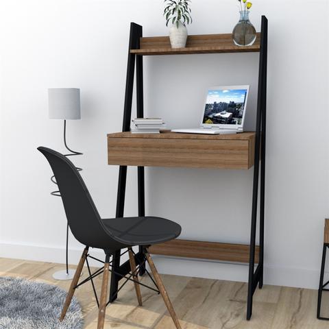 Imagem de Escrivaninha Estante com 1 Gaveta Trend Office Bliv - Castanho e Preto