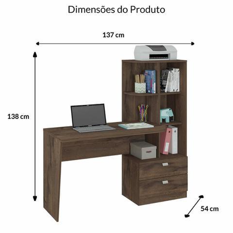 Imagem de Escrivaninha/Mesa para Computador Com Estante Elisa Café - Permobili