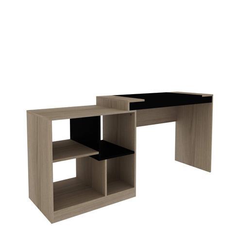 Imagem de Escrivaninha Multifuncional 2 em 1 com 4 Nichos HO-2904 Home Office Hecol Móveis Avelã TX/Ônix TX
