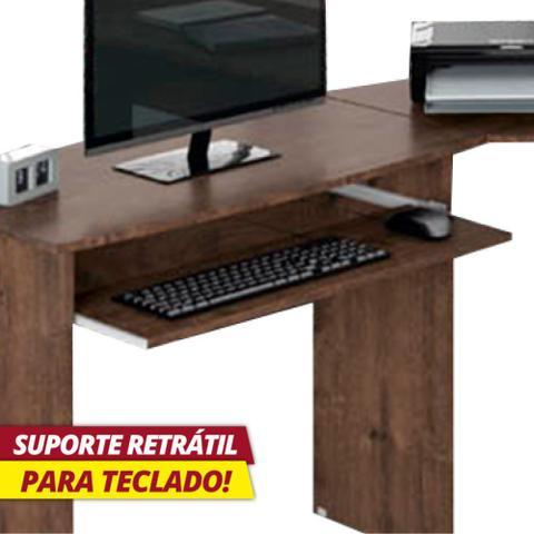 Imagem de Escrivaninha para Escritório em L 1 Gaveta Max Zanzini Jacarandá