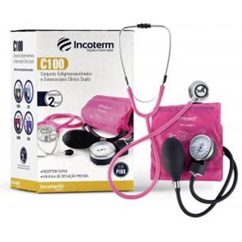 Imagem de Esfigmomanometro e estetoscopio conjunto incoterm modelo c100 - pink