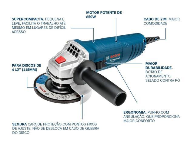 """Imagem de Esmerilhadeira Bosch 4 1/2"""" 850W GWS 850"""