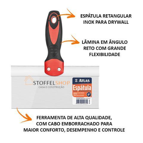 Imagem de Espátula Aço Inox 8'' / 20cm Massa Corrida, Gesso - 4 Peças