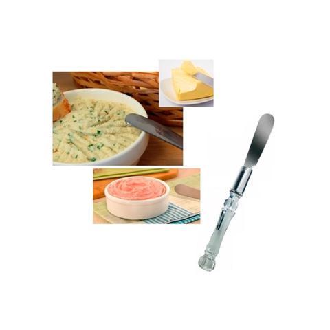 Imagem de Espátula Pate Manteiga de Inox Cabo Plástico Kit c/ 4 Peças