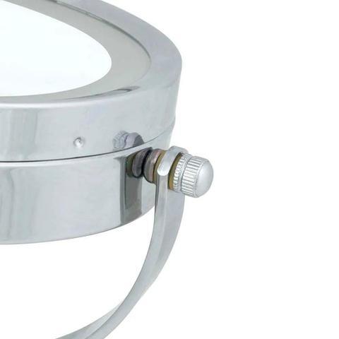 Imagem de Espelho Aumento Dupla Face de Mesa Articulado Aço Cromado com Iluminação Led