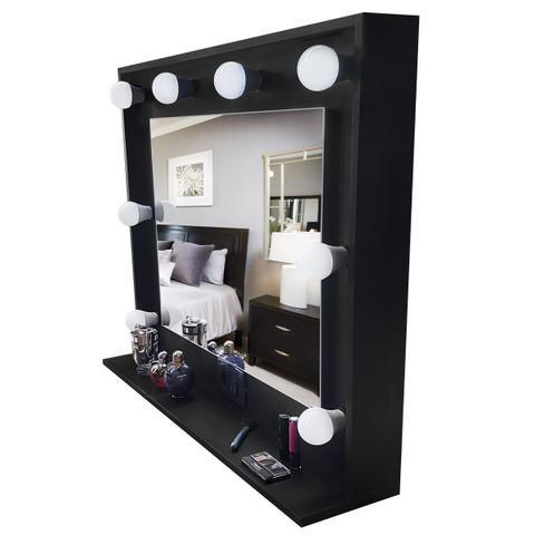 Imagem de Espelho camarim moldura MDF com prateleira preto 90x73x20 - Dom Móveis