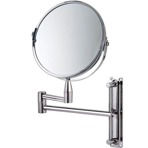 Imagem de Espelho De Aumento Mor 8482 Aço Cromado Articulado Dupla Face Cinza