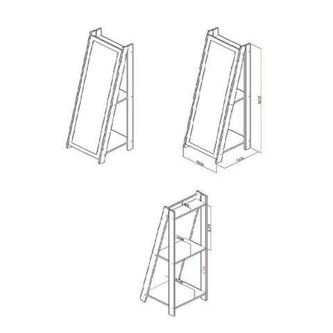 Imagem de Espelho De Chão Com 2 Prateleiras Retrô 161cmx50cm - Preto