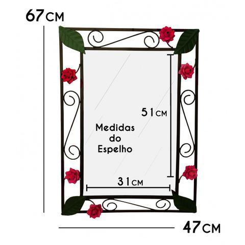 Imagem de Espelho para Quarto com Moldura de Ferro e Flores Rusticas Decorativo