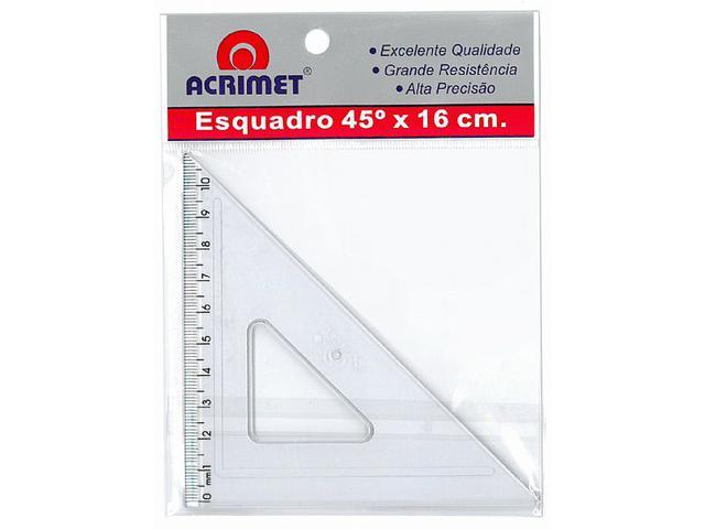 Imagem de Esquadro Acrimet  45º c/ Escala 016 cm  Cristal 522.0