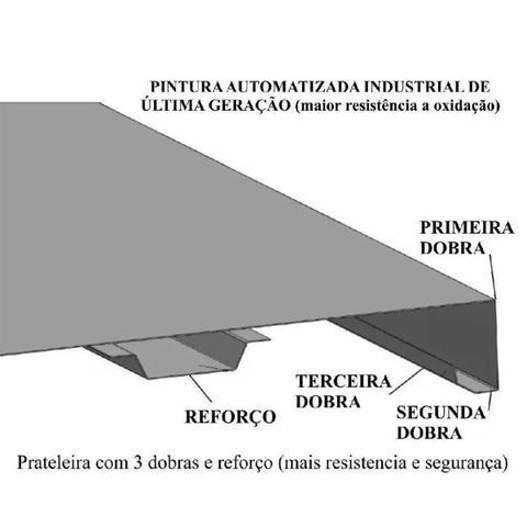 Imagem de Estante Aço Multiuso Preta 6 Prateleiras Reforçadas Até 30kg Cada