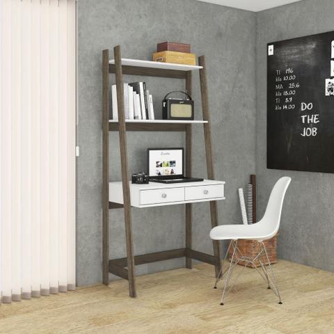 Imagem de Estante Multiuso Escrivaninha com 2 Gavetas - Rústico/Branco
