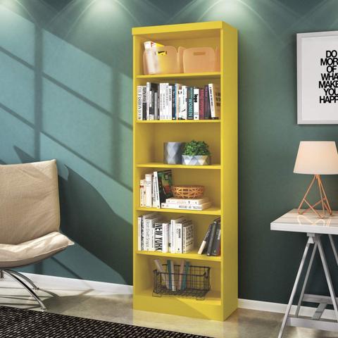 Imagem de Estante para Livros 5 Prateleiras Linus Qmovi Amarelo