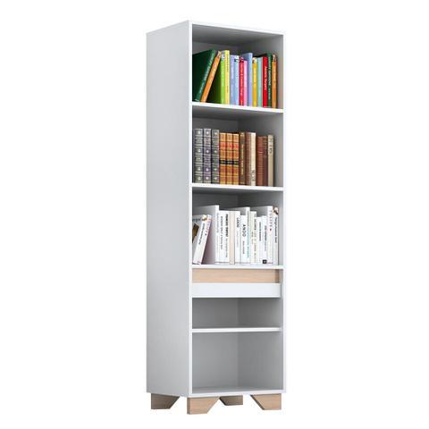 Imagem de Estante Para Livros Benevello 1 Porta 4 Prateleiras 2033 Branco - Quiditá Móveis