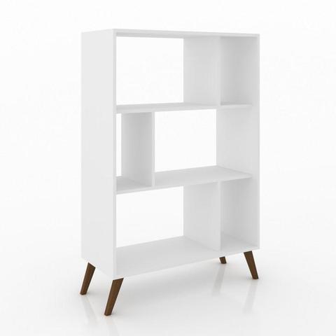 Imagem de Estante Retrô Pequena Para Livros Branco Movelbento
