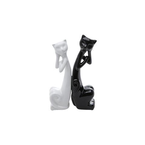 Imagem de Estatueta 19,5 cm de cerâmica branco e preto Casal Gatos Pensativos Prestige - 2798