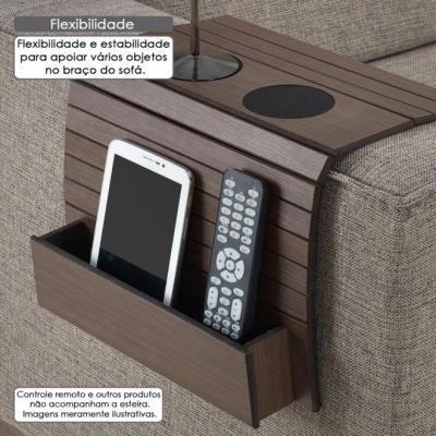 Imagem de Esteira de madeira para braço de sofá com porta copos e controle remoto - carvalho capuccino