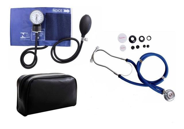 Imagem de Estetoscópio Duplo +  Medidor de Pressão Arterial Azul