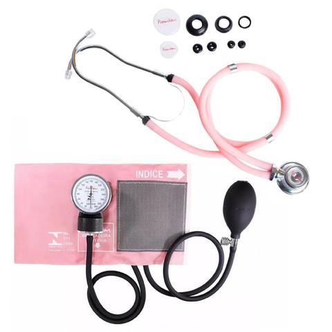 Imagem de Estetoscópio Duplo +  Medidor de Pressão Arterial Rosa