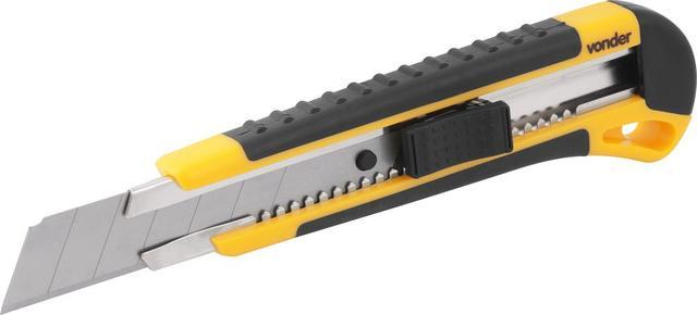Imagem de Estilete largo 25mm corpo plástico com guia metálica botão trava com 1 lâmina - Vonder