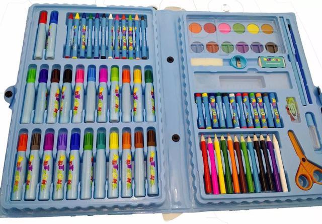 Imagem de Estojo AZUL Maleta Escolar Pintura 86 Peças com Canetinhas, giz, aquarela, lápis de cor