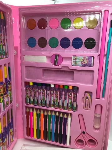 Imagem de Estojo Maleta ROSA Escolar Pintura 86 Peças com Canetinhas, giz, aquarela, lápis de cor