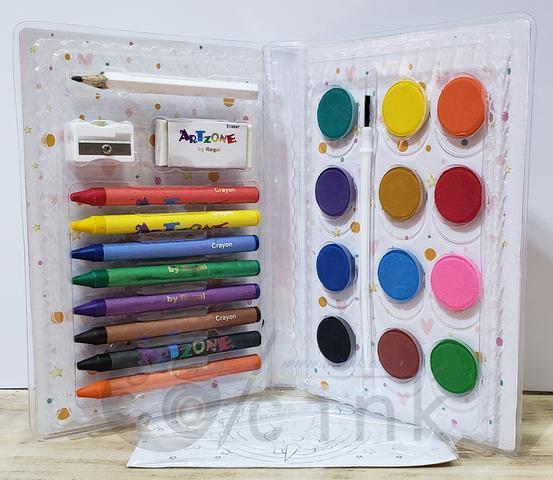 Imagem de Estojo maleto de pintura Infantil 24 peças transparente Personalizável