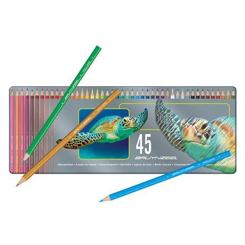 Imagem de Estojo Metálico de Lápis de Cor Turtle Bruynzeel 45 Cores - 5011M45