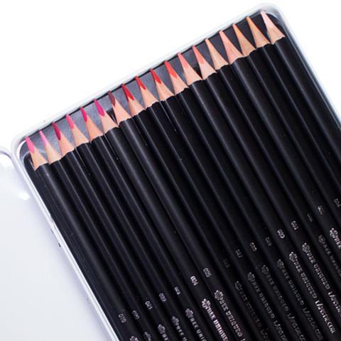 Imagem de Estojo Metalizado de Lápis de Cor Profissional Colorgrade Bee Unique Tons de Vermelho com 18 Unidades  OD  190007