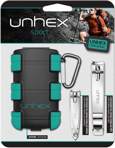 Imagem de Estojo Unhex Sport 01 - Estojo + Cortador de Unhas p/ Mãos + Cortador de Unhas p/ Pés + Mosquetão - Verde