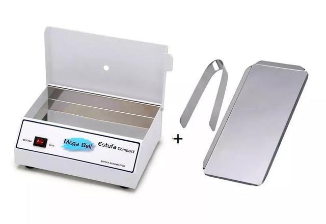 Imagem de Estufa Esterilizadora para Manicure Esterilizador de Alicates + Bandeja + Pinça