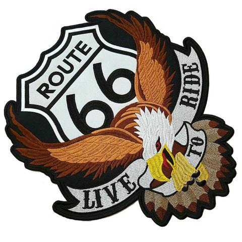 Imagem de EUA Rota 66 Águia Patch Bordado Para Colete Moto Clube
